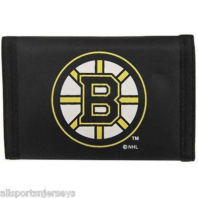 NHL Boston Bruins Tri-fold Nylon Wallet with Printed Logo