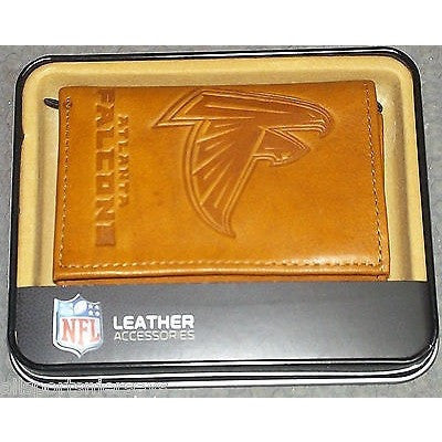 NFL Atlanta Falcons Embossed TriFold Leather Wallet With Gift Box