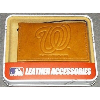 MLB Washington Nationals Embossed TriFold Leather Wallet With Gift Box