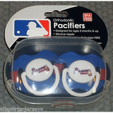 MLB Atlanta Braves Pacifiers Set of 2 w/ Stripe on Shield in Case
