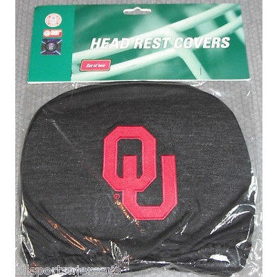 NCAA Oklahoma Sooners Headrest Cover Embroidered Logo Set of 2 by Team ProMark