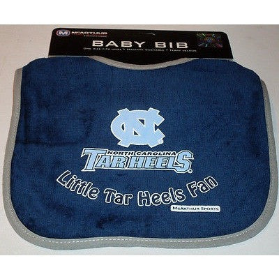 NCAA North Carolina Tar Heels Little Fan Baby Bib Blue Gray trim
