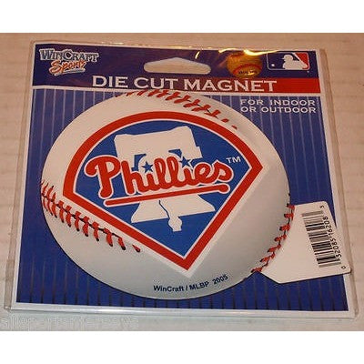 MLB Philadelphia Phillies Logo on Baseball 4 inch Auto Magnet by WinCraft