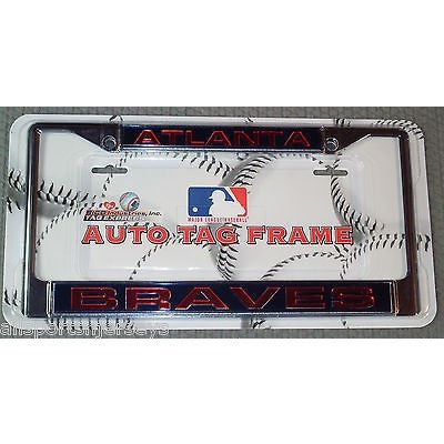 MLB Atlanta Braves Chrome License Plate Frame Laser Cut