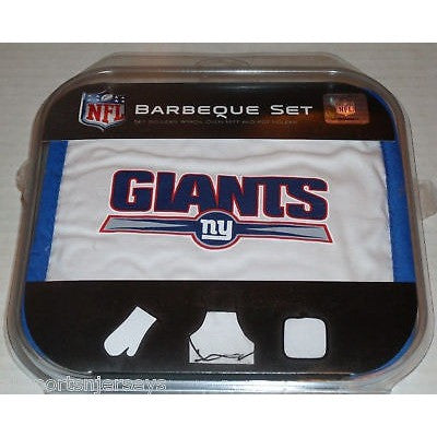 NFL New York Giants Alt Logo BBQ Tailgate Kit 3 Piece Set Apron Oven Mitt Potholder McArthur