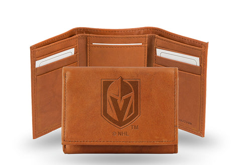 NHL Las Vegas Golden Knights Embossed TriFold Leather Wallet With Gift Box