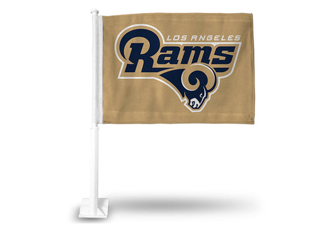 NFL Los Angeles Rams Logo Over Name on Gold Window Car Flag Rico
