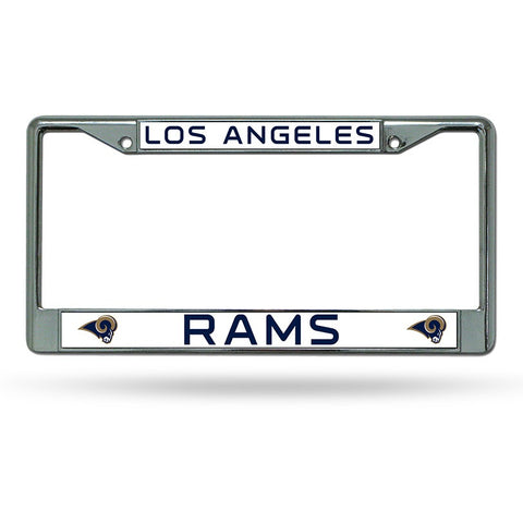 NFL Los Angeles Rams Chrome License Plate Frame Thin Blue Letters
