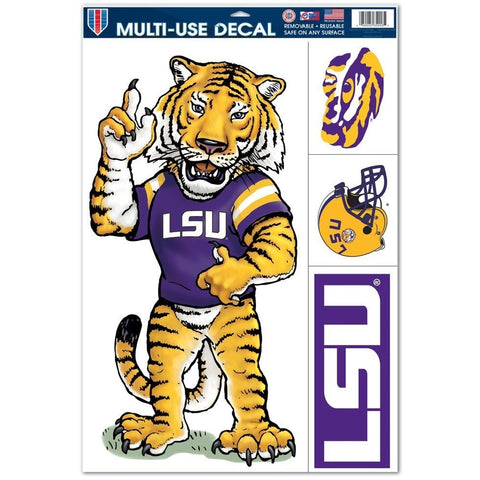 NCAA LSU Tigers Ultra Decals Set of 4 By WINCRAFT Standing Mascot