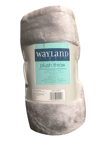 "Wayland Square Plush Throw Blanket Light Gray 50"" X 60"""