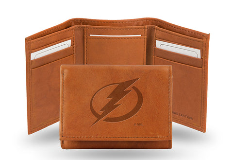 NHL Tampa Bay Lightning Embossed TriFold Leather Wallet With Gift Box