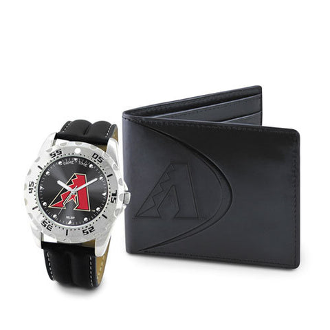 MLB Men's Watch and Black Leather Wallet Set by Game Time Select
