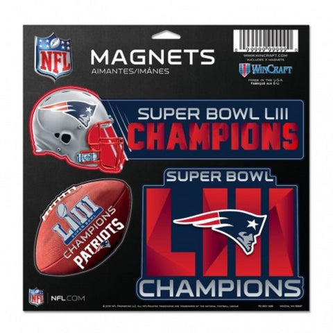 "New England Patriots Super Bowl LIII Champions 11""x11"" 3 pack Magnets WinCraft"