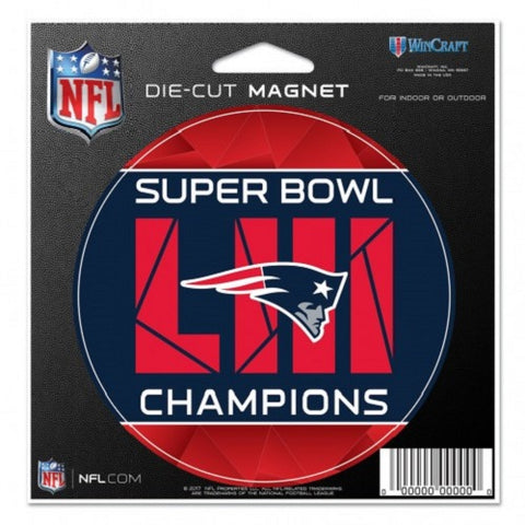 "New England Patriots Super Bowl LIII Champions 4"" Round Magnet WinCraft"