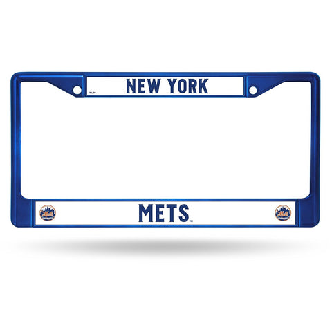 MLB Blue Chrome License Plate Frame New York Mets Thin Raised Letters