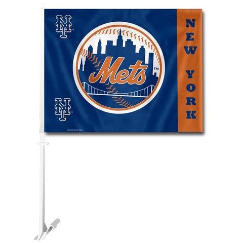 MLB Logo New York Mets Left Window Car Flag RICO or Fremont Die