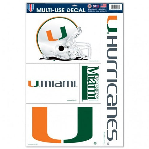 NCAA Miami Hurricanes Ultra Decals Set of 5 By WINCRAFT