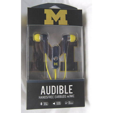 NCAA Michigan Wolverines Team Logo Earphones with Microphone by MIZCO
