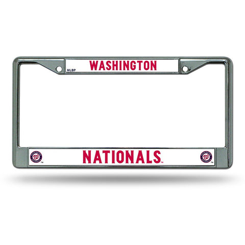 MLB Chrome License Plate Frame Washington Nationals Thin Raised Letters