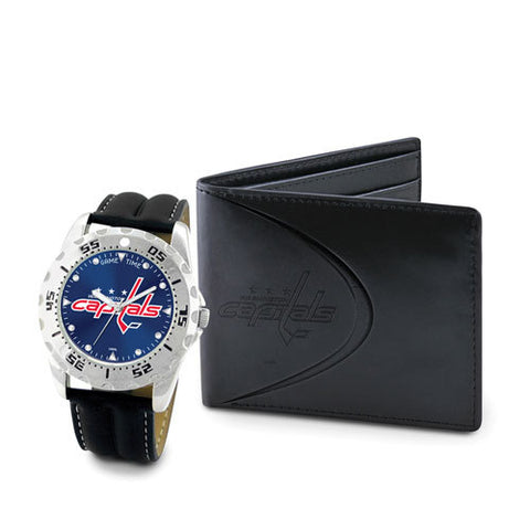 NHL Washington Capitals Men's Watch and Black Leather Wallet Set by Game Time