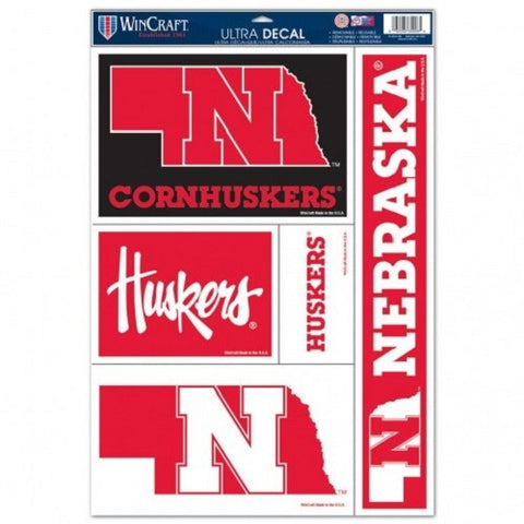 NCAA Nebraska Cornhuskers Ultra Decals Set of 5 By WINCRAFT Straight