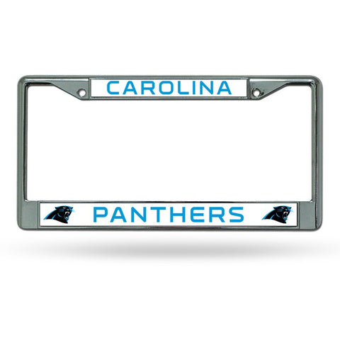 NFL Carolina Panthers Chrome License Plate Frame Thin Letters
