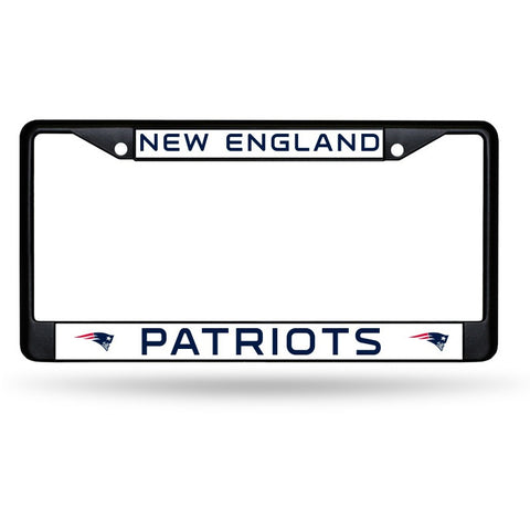 NFL Black Chrome License Plate Frame New England Patriots Thin Blue Letters