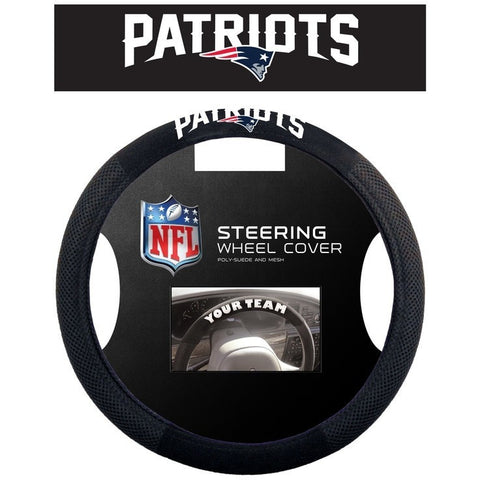 NFL POLY-SUEDE MESH STEERING WHEEL COVER NEW ENGLAND PATRIOTS