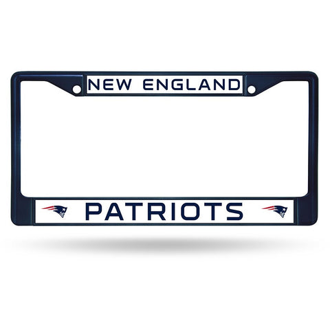 NFL Blue Chrome License Plate Frame New England Patriots Thin Blue Letters