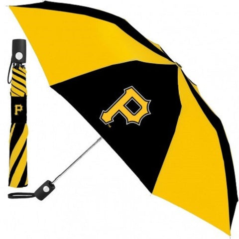 "MLB Travel Umbrella Pittsburgh Pirates ""P"" Logo Yellow & Black Windcraft"