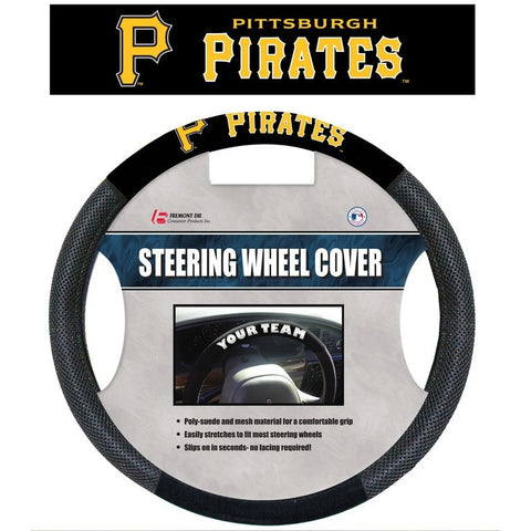 MLB POLY-SUEDE MESH STEERING WHEEL COVER PITTSBURGH PIRATES CURRENT LOGO