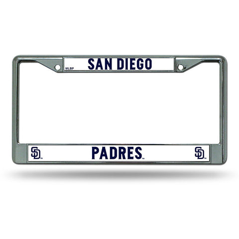 MLB Chrome License Plate Frame San Diego Padres Thin Raised Letters