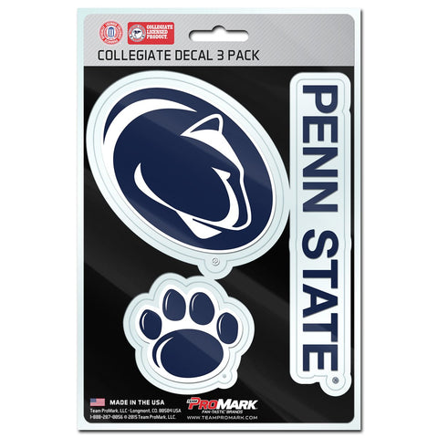 "NCAA Penn State Nittany Lions Decals Set of 3 Sheet is 5.5"" x 8"" by Team ProMark"