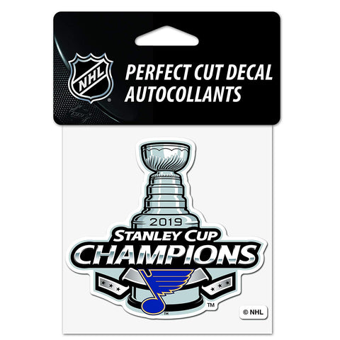 "NHL St. Louis Blues 2019 Stanley Cup Champions 4""x4"" Prefect Cut Decal WinCraft"