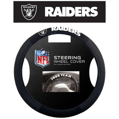 NFL POLY-SUEDE MESH STEERING WHEEL COVER OAKLAND RAIDERS