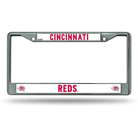 MLB Chrome License Plate Frame Cincinnati Reds Thin Raised Letters