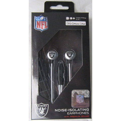 NFL iHip Team Logo Earphones with Microphone Oakland Raiders