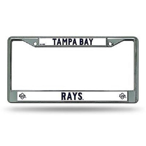 MLB Chrome License Plate Frame Tampa Bay Rays Thin Raised Letters