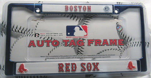 MLB Boston Red Sox Blue Chrome License Plate Frame 2 Color Letters