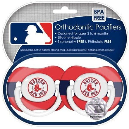 MLB Boston Red Sox Pacifiers Set of 2 w/ Stripe on Shield in Case