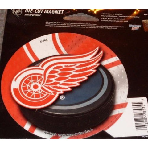 NHL Detroit Red Wings Round Puck Style 4 inch Auto Magnet by WinCraft