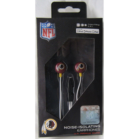 NFL iHip Team Logo Earphones with Microphone Washington Redskins