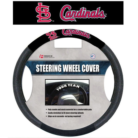 MLB POLY-SUEDE MESH STEERING WHEEL COVER ST. LOUIS CARDINALS