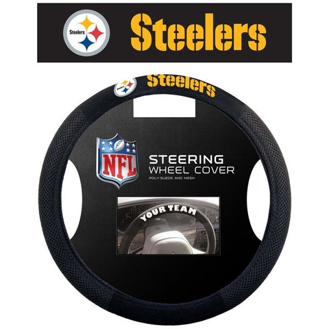 NFL POLY-SUEDE MESH STEERING WHEEL COVER PITTSBURGH STEELERS