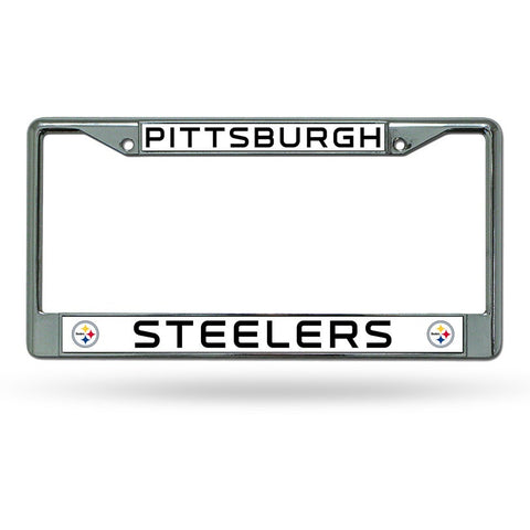 NFL Pittsburgh Steelers Chrome License Plate Frame Thin Letters