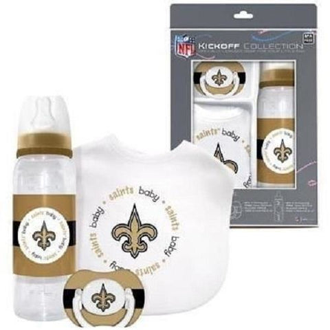 NFL New Orleans Saints Baby Gift Set Bottle Bib Pacifier by baby fanatic