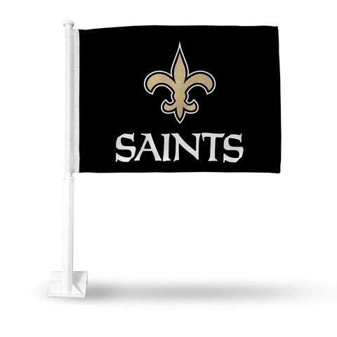 NFL New Orleans Saints Logo Over Name on Black Window Car Flag Rico