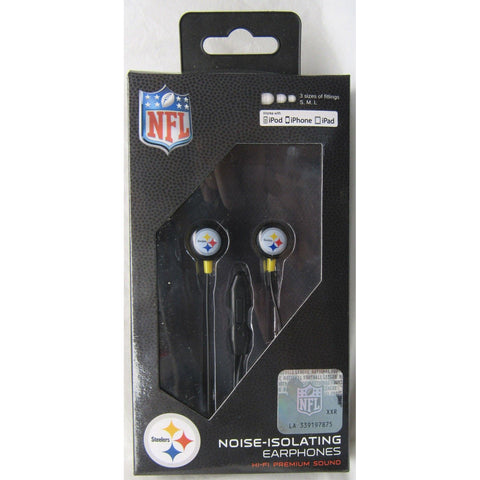 NFL iHip Team Logo Earphones with Microphone Pittsburgh Steelers