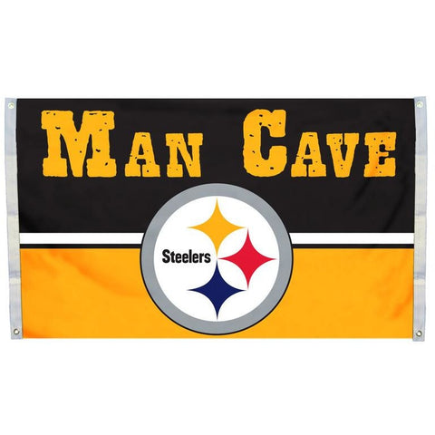 NFL 3' x 5' Team MAN CAVE Flag Pittsburgh Steelers