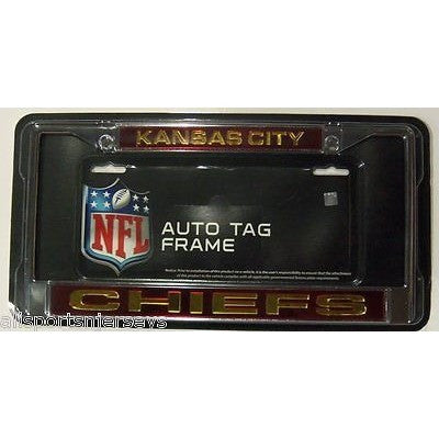 NFL Kansas City Chiefs Laser Cut Chrome License Plate Frame